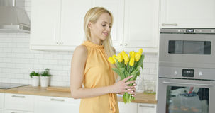 Tender female holding bouquet Royalty Free Stock Photo
