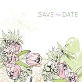 Tender floral invitation with tulips. Botanical illustration Stock Image
