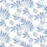 Tender floral motif vector illustration. Tropical leaves and flowers seamless pattern on white background. hand drawn naive style natural design Royalty Free Stock Image