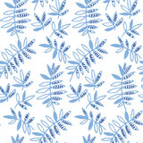 Tender floral pattern. Blue floral motif vector illustration. tropical leaves seamless pattern on white background. hand drawn naive style natural design Royalty Free Stock Images