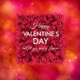 Tender floral red Valentines Day card design. Tender floral red Valentines Day vector card design with white text over a square frame of fresh red flowers on a Stock Photos