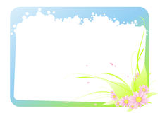 Tender flower's frame. Tender gradient colored frame with white bubles and tender fresh bouquet Stock Images