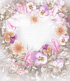 Tender flowers heart frame with place for text. royalty free stock image