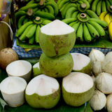 Tender and Fresh Coconut in the market Stock Photos