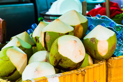 Tender and Fresh Coconuts in the thai market. Bangkok, Thailand Stock Images