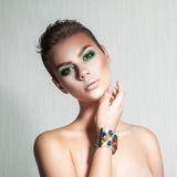 Tender girl with beautiful makeup and short hair Stock Images