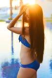 Tender girl enjoying summer sun. Royalty Free Stock Image