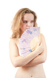 Tender girl with a fan Stock Photography