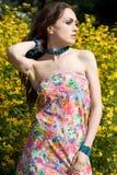 Tender girl in the garden stock photography