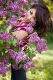 Tender girl in the garden Stock Images