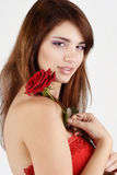 Tender girl with rose Stock Photography