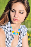 Tender girl wearing necklace Royalty Free Stock Photos