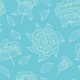 Tender and graceful seamless pattern with hand drawn flowers and leaves. Romantic endless blue background. Royalty Free Stock Photos