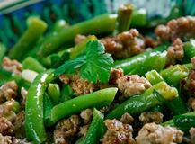Tender Green Beans with Meat Royalty Free Stock Images