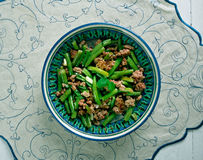 Tender Green Beans with Meat Stock Photo