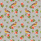 Tender grey floral backdrop with roses and birds Royalty Free Stock Photos