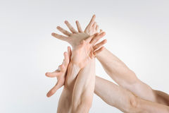 Tender gymnasts hands expressing grace in the studio. Smooth skin. Flexible graceful sophisticated gymnasts hands locating in the white colored studio and being stock photos
