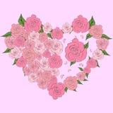 A tender heart of roses, wedding. A tender heart of roses, half filled with roses, wedding Stock Images