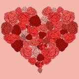 A tender heart of roses, wedding. A tender heart of roses, half filled with roses, wedding Royalty Free Stock Image