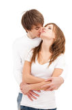 Tender hug of young couple Royalty Free Stock Image