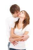 Tender hug of young couple Royalty Free Stock Image