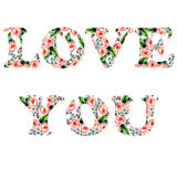 Tender illustration for your greeting card for St. Valentine day with floral watercolor writing Love you in  Stock Photo