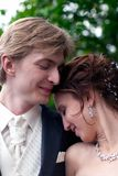 Tender image of bride and groom Royalty Free Stock Photography