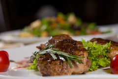 Tender Juicy Grilled Meat with Vegetables Stock Photography