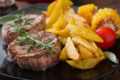 Tender and juicy veal steak Royalty Free Stock Images