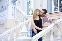 Tender kisses on the first date Stock Images