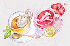 Tender kitchen tea time still life with animals in cups illustration Royalty Free Stock Photography