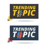 Tender la bandera del tema con la muestra del hashtag Diseño del icono del web del vector Imagenes de archivo