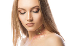 Tender lady with professional makeup and glitter on her neck Royalty Free Stock Photos