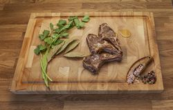 Lamb meet ribs on the cutting board royalty free stock photography
