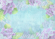 Tender light background composition with delicate lilac flower. Grunge background. Can be used for greeting card, invitation for wedding and other holiday Royalty Free Stock Photos
