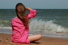 Tender little girl over the sea Royalty Free Stock Photo