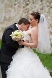 Tender love. Between bride and groom kissing Royalty Free Stock Image