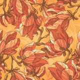 Tender magnolia flowers seamless pattern Stock Images