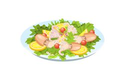 Tender meat of squid, octopus, with greens, vegetables, lemon. Festive seafood specialties, modern delicacies with a beautiful presentation on the plate stock illustration