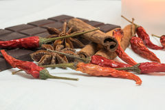 Tender milk chocolate and cinnamon with anise on a. Wooden background Royalty Free Stock Image