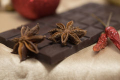 Tender milk chocolate and cinnamon with anise on a. Wooden background Royalty Free Stock Photography