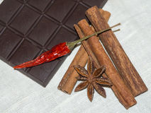 Tender milk chocolate and cinnamon with anise on a wooden background.  Royalty Free Stock Images