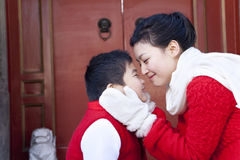 Tender moment between mother and son Royalty Free Stock Photography
