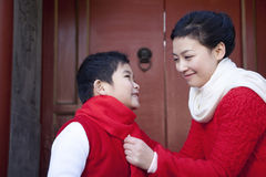 Tender moment between mother and son Stock Photo