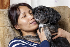 Tender moment between woman and small dog. A woman shows affection to her pet dog in this cute image Royalty Free Stock Images