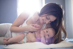 Tender moments with mom royalty free stock photos