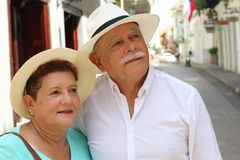 Tender older ethnic couple candid stock photography