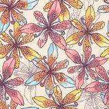 Tender pastel lilies seamless pattern Stock Image