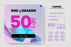 Tender Pastel Vector Sale Template with Flying Silk on Lilac Background with Polka Dot Pattern. Advertising Design for Cloth Shop, Online Store, Web Banner Royalty Free Stock Image