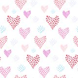 Tender pattern with pink hearts and dotted element stock illustration